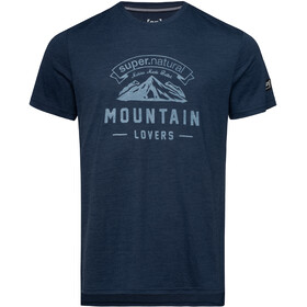 super.natural Graphic Tee Mountain Lovers Herr blue iris melange/fresh white